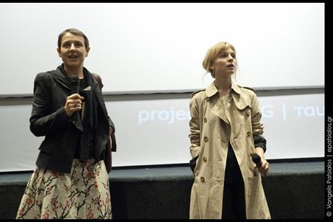 Fest artistic director Elise Jalladeau introducing actress Clemence Poesy at the presentation of The Silence of Joan (Jeanne Captive) by Philippe Ramos, the surprise filmof surpisefilm of the festivalshe stars in.